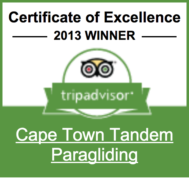 Cape Town Tandem Paragliding - TripAdvisor Certificate of Excellence 2013