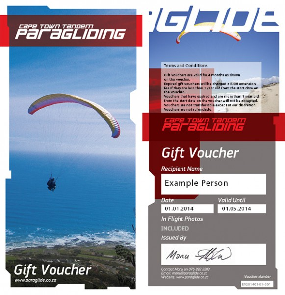 Cape Town Tandem Paragliding - example gift voucher