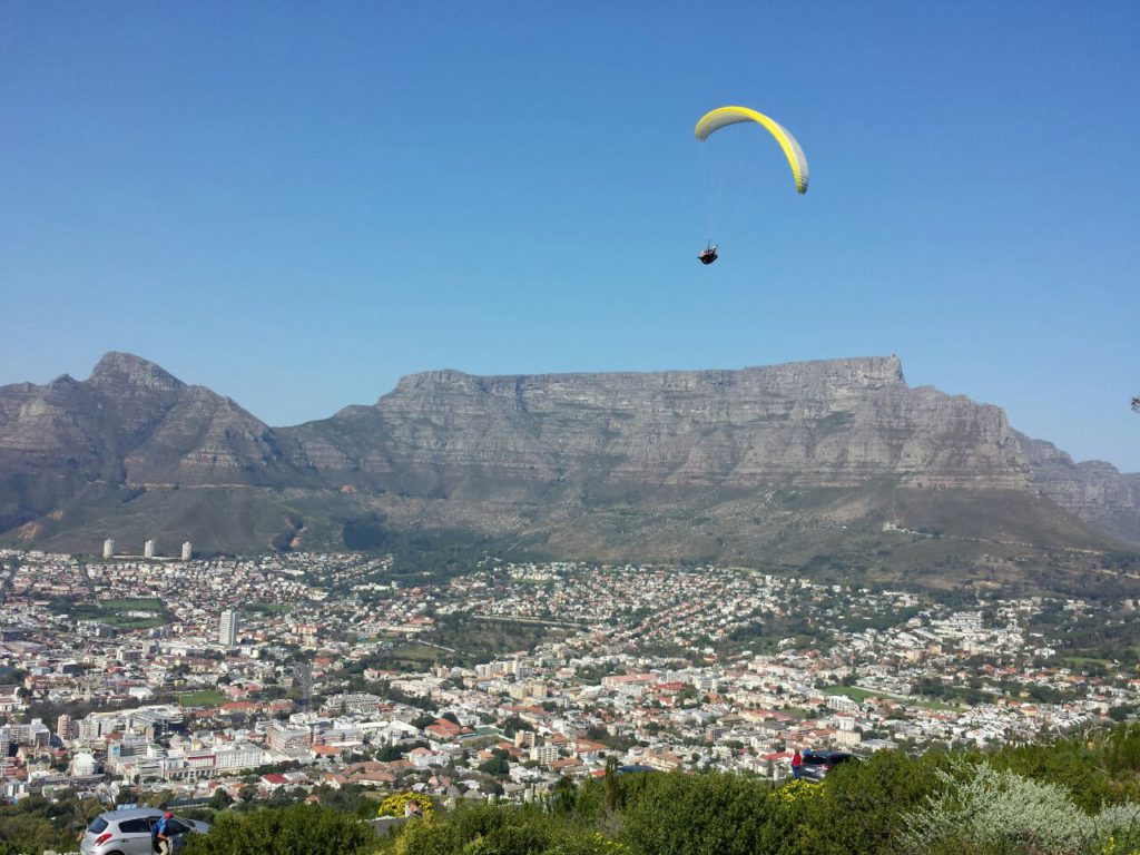 Paragliding with Table Mountain in background