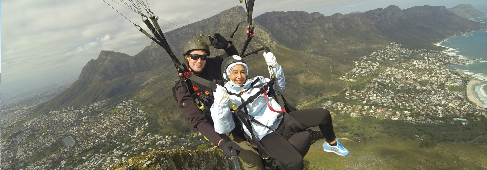 paragliding over lions head