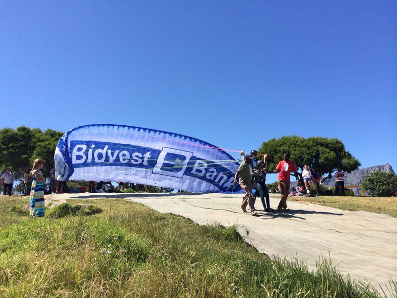 Bidvest Bank branded tandem paragliders